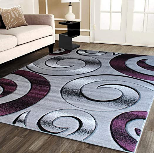 Masada Rugs, Purple Contemporary Woven Area Rug, Hand Carved 8 Feet X 10 Feet, Purple