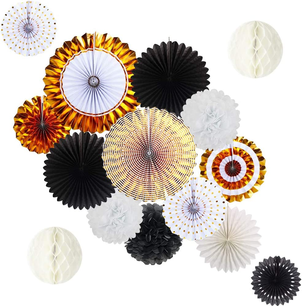Black Gold Party Decorations, Gold Paper Fans and Pom Poms Flowers for Birthday Party Graduation Masquerade New Years Party Decor 15pcs