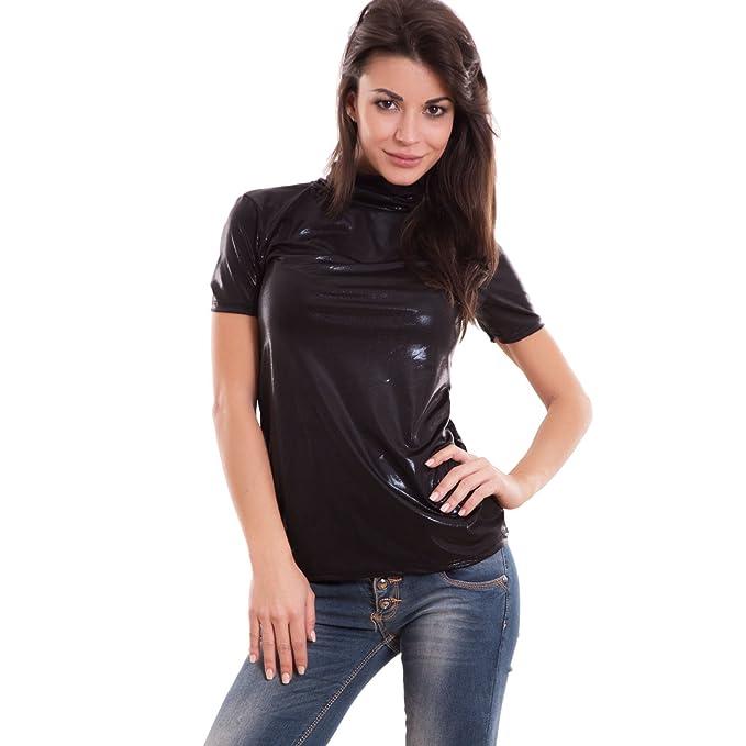 selezione premium b5450 9f01a Toocool - Maglia Donna Maglietta Lucida Collo Alto Lupetto ...