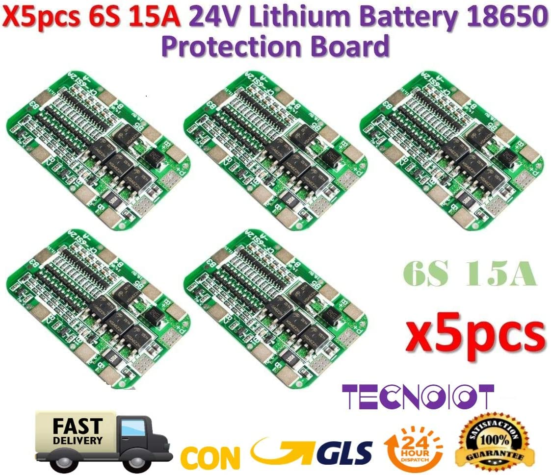 TECNOIOT 5pcs 6S 15A 24V PCB BMS Protection Board For 6 Pack 18650 Li-Ion Lithium Battery