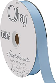 "product image for Berwick Offray 7/8"" Wide Double Face Satin Ribbon, Light Blue, 100 Yards"