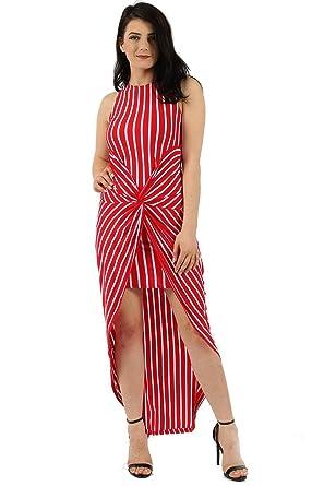 20487f3ccf6 Missi London Womens Stripe Knot Twist Maxi Dress Sizes S M and M L (S M