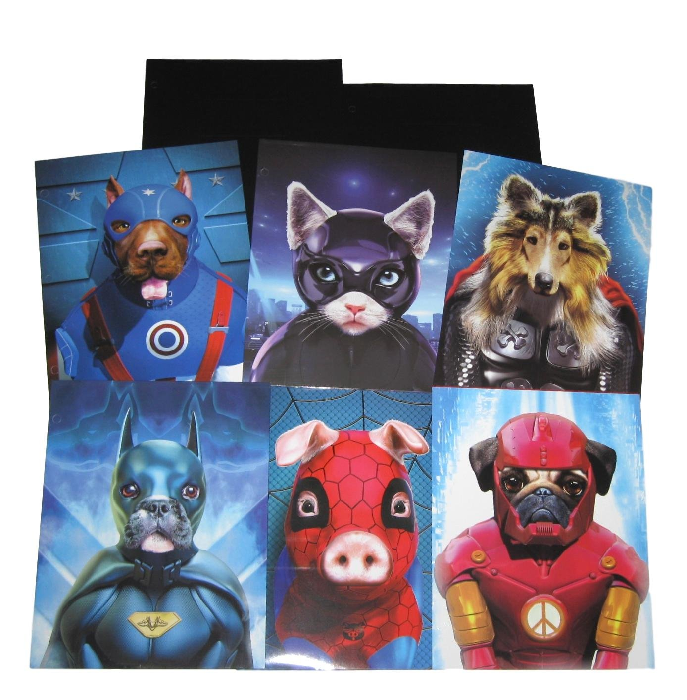 School Folders with Pockets - Dogs Cat Pig in Super Hero Pet Costumes - Total of 8