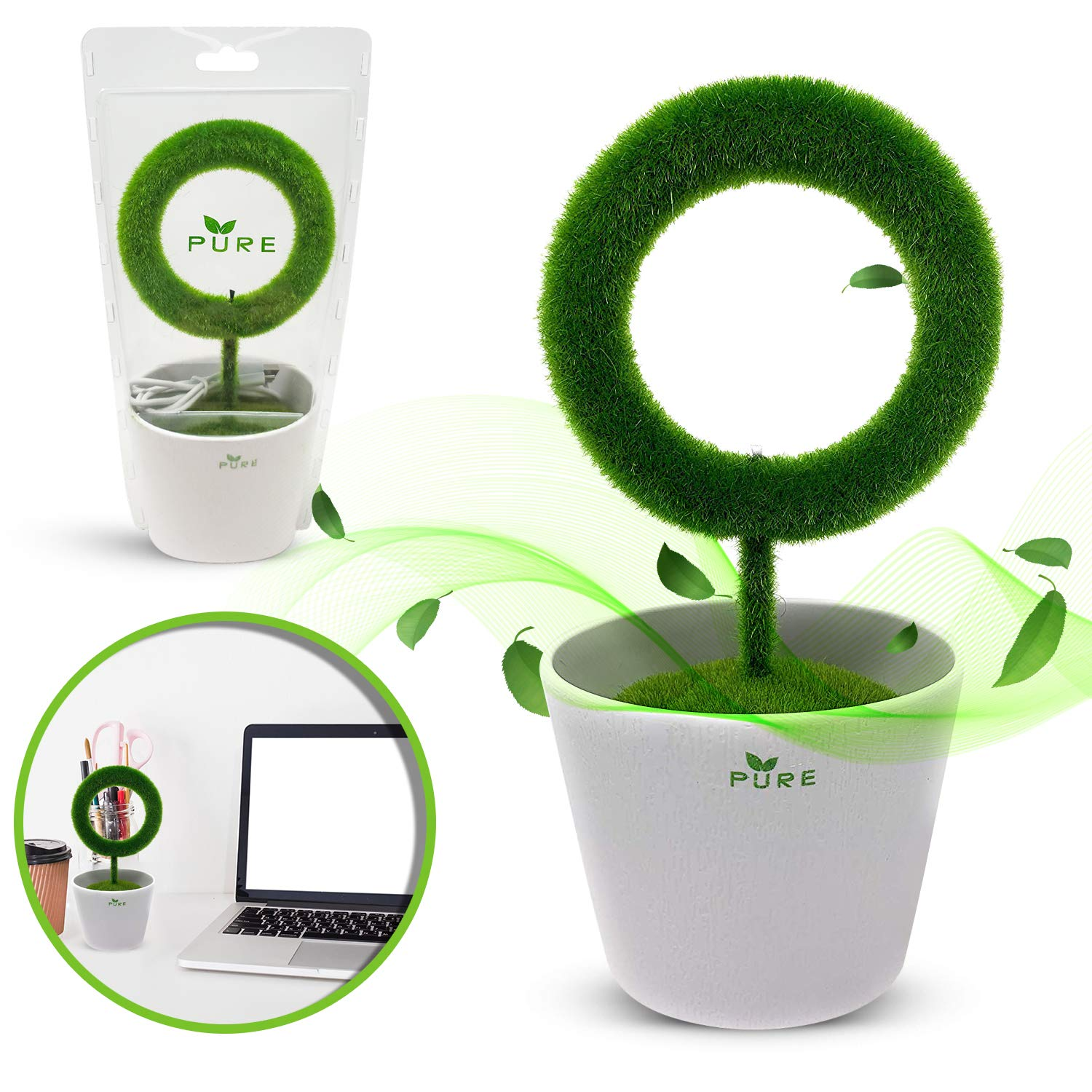 Plant Air Purifier for Desktop Removes Airborne Particles Smoke Air Pollutant Allergen Dust Pollen PM2.5 for Asthma Allergies Smokers Pets Air Cleaner Ionizer Releasing Negative Ions for Home Office by PURE