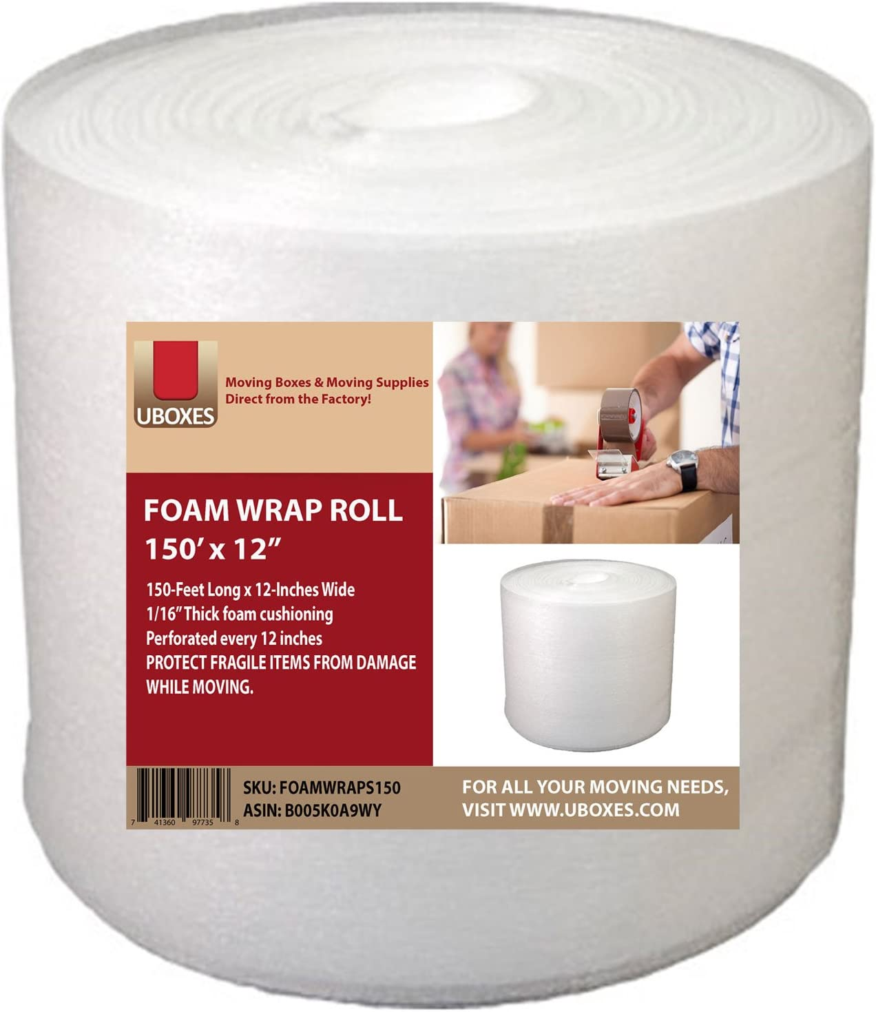 """Uboxes Foam Wrap Roll - 12"""" Wide x 150 feet - 1/16"""" - Perforated Every 12"""" : Office Products"""