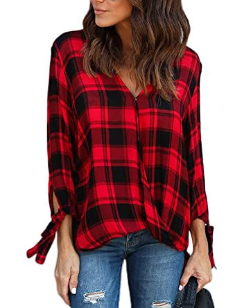 e299510f28 Astylish Women Casual Plaid V Neck 3 4 Long Sleeve Blouses and Tops Shirts  Red Size
