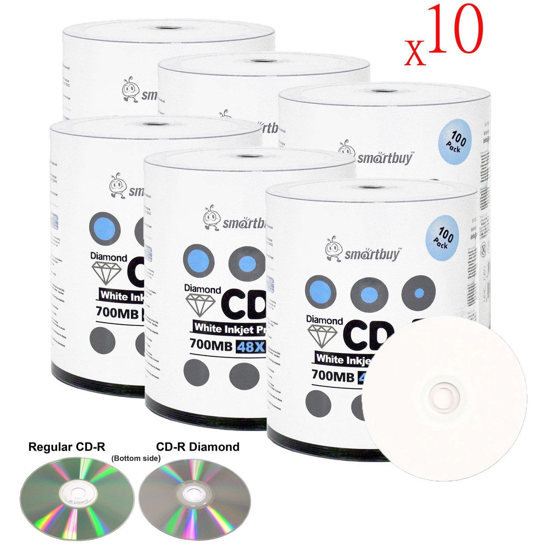 Smart Buy 6000 Pack Diamond CD-R 700mb 48x Printable White Blank Media Discs, 6000 Disc, 6000pk
