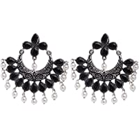 Ethnadore Bohemian Vintage Antique Crystal CZ Indian Oxidized Silver Chandbali Dangle Earrings Set Jewelry