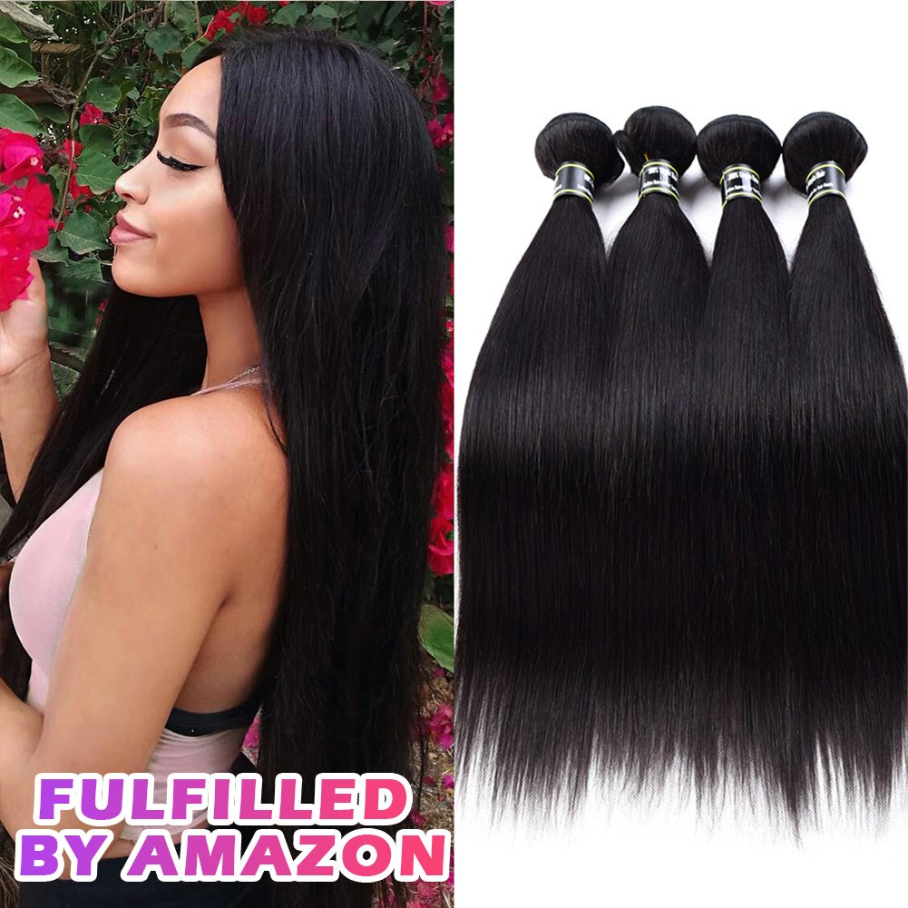 Star Show Hair Brazilian Straight Hair 4 Bundles Grade 7A Unprocessed Virgin Human Hair Extensions Straight Brazilian Hair Weave Bundles Can Be Dyed and Bleached (12 14 16 18 inch)
