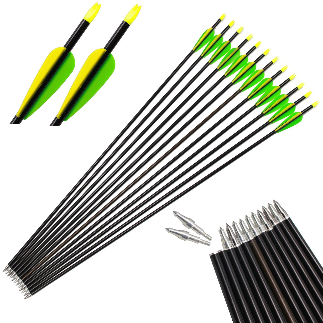 kaimei Archery Aluminum Arrows 3'' Vane Field Points Replaceable Tips for Recurve Targeting or Hunting(Pack of 12) Bow Compound Bow
