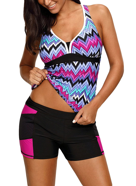 HOTAPEI Womens Racerback Tankini Set Boyshort Two Piece Swimsuit H410119-P