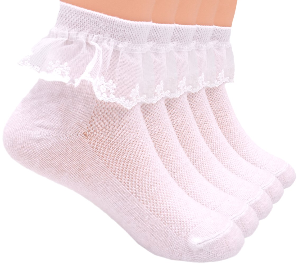 Sept.Filles Socks Girl's Anklet Socks Lace Top Dress Socks Packs of 5(M(3-6y), White)