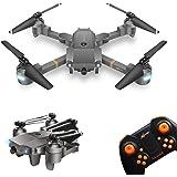 Drone FPV avec caméra, Quadricoptère RC avec caméra grand-angle 720P HD, contrôle vidéo en direct de l'application mobile, Hélicoptère télécommandé pliable avec capteur de gravité, positionnement du flux optique et mode sans tête