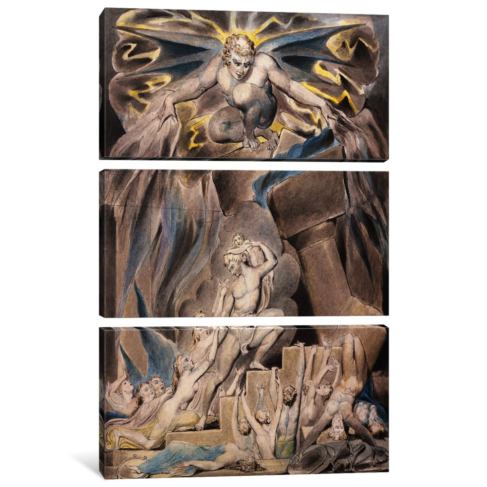 1.5 by 40 by 60-Inch iCanvasART 3-Piece Jobs Sons and Daughters Overwhelmed by Satan Canvas Print by William Blake