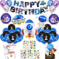 Outer Space Birthday Party Decoration for Kids Boys Girls with Solar System Happy Birthday Banner Cupcake Toppers…