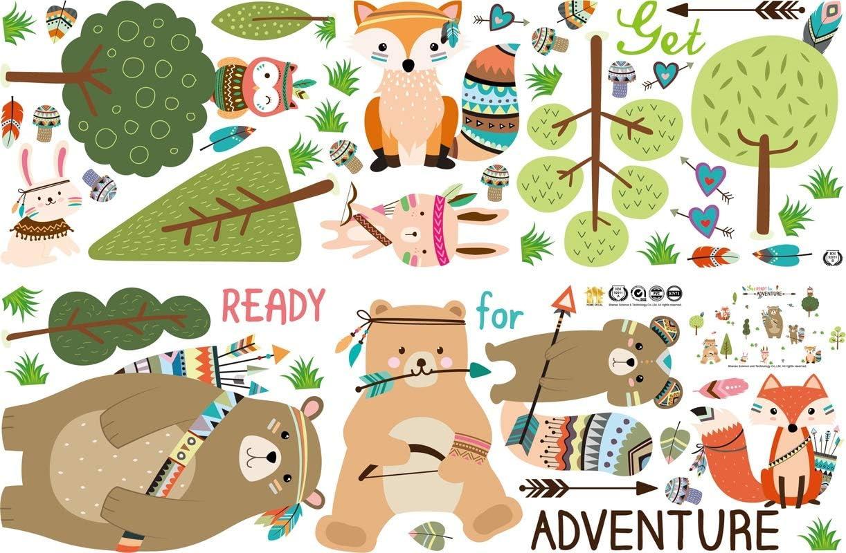 WandSticker4U/® Sticker mural d/écoratif pour chambre denfant Motif animaux de la for/êt et fleurs et jungle Multicolore Vert