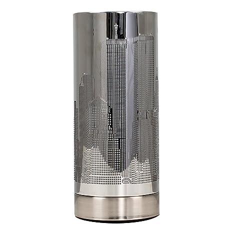 MiniSun – Lámpara de mesa moderna y táctil - inspirada en el paisaje de Nueva York, cromada