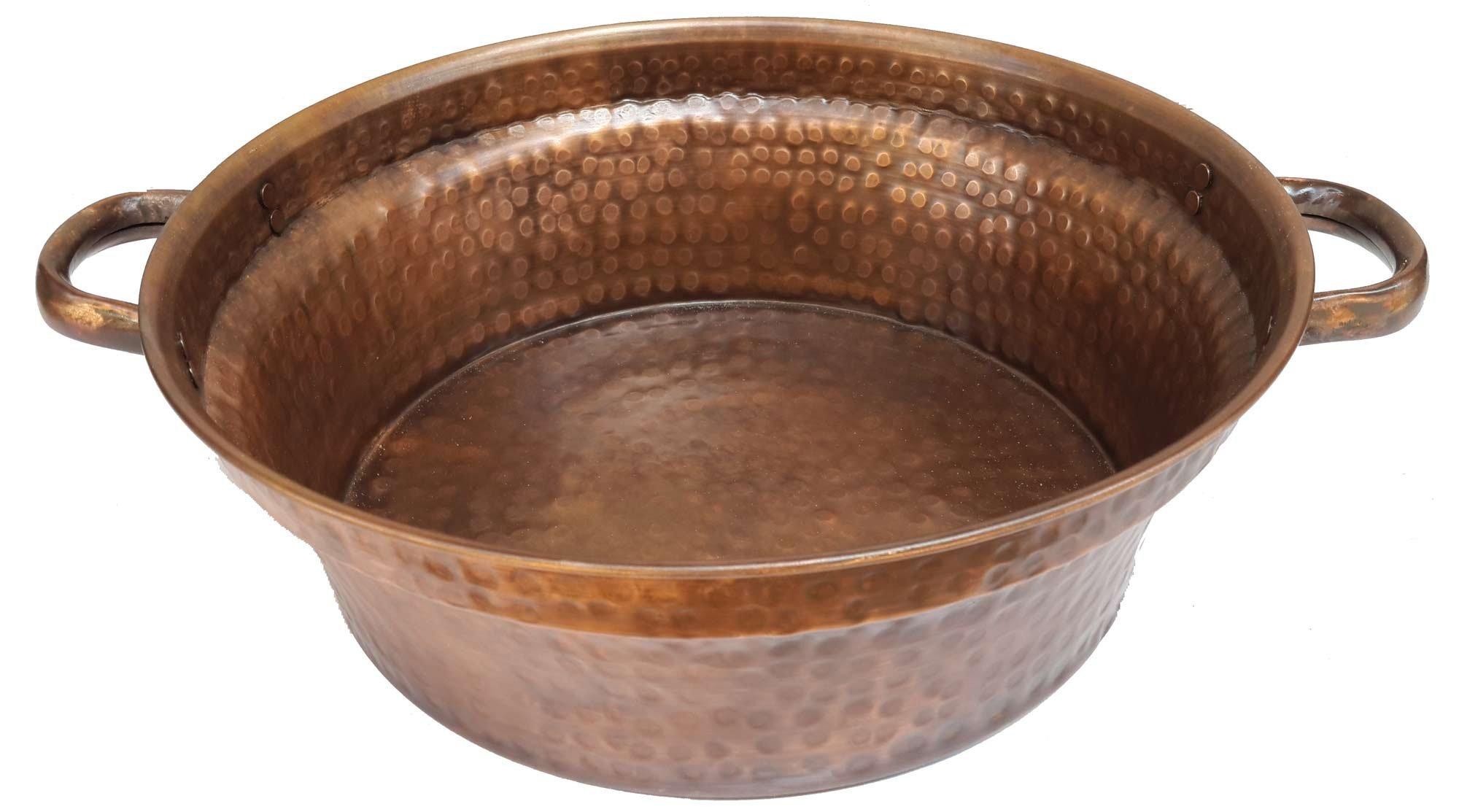Egypt gift shops 21'' Large Antique Patina Foot Massage Bath Bucket Handles Pedicure Spa Styling Salon Bowl 14'' Bottom
