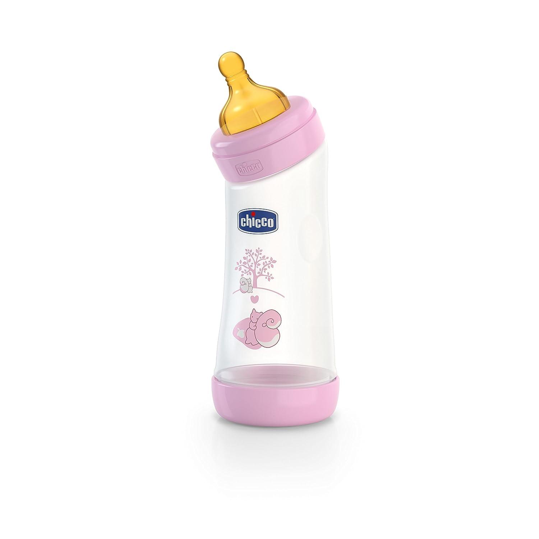 Biber/ón con tetina inclinada de l/átex y flujo normal para beb/é de 4 meses en adelante rosa 250 ml Chicco Wellbeing