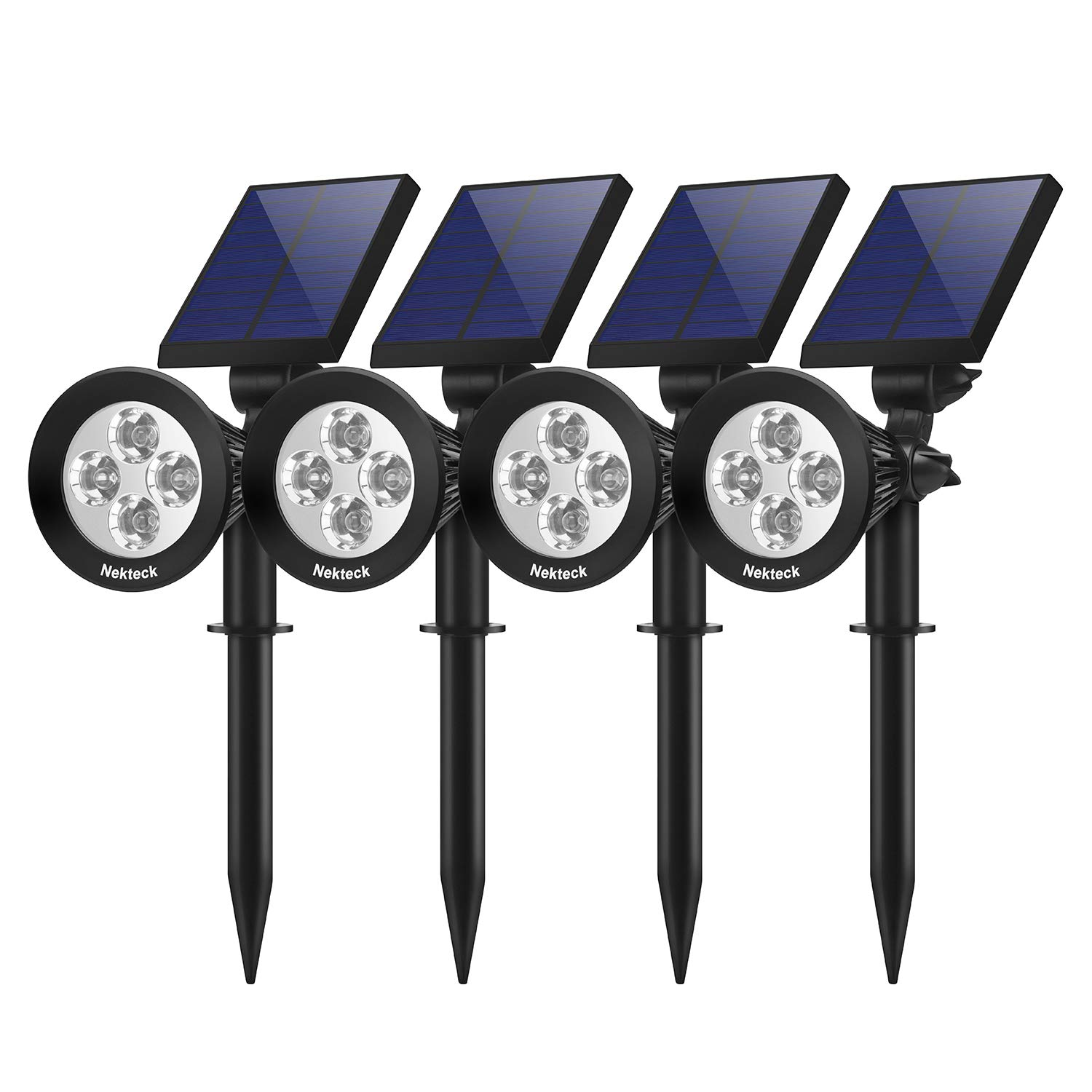 Nekteck Solar Lights Outdoor, 2-in-1 Solar Pathway Spotlights Powered 4 LED Adjustable Wall Light Landscape Lighting, Bright and Dark Sensing, Auto On/Off for Flag Pole, Yard, Figurine