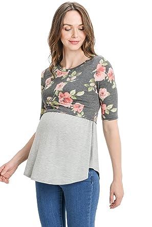 f02798448cbe Hello MIZ Women s Maternity Nursing Tunic Top with Empire Waist at ...