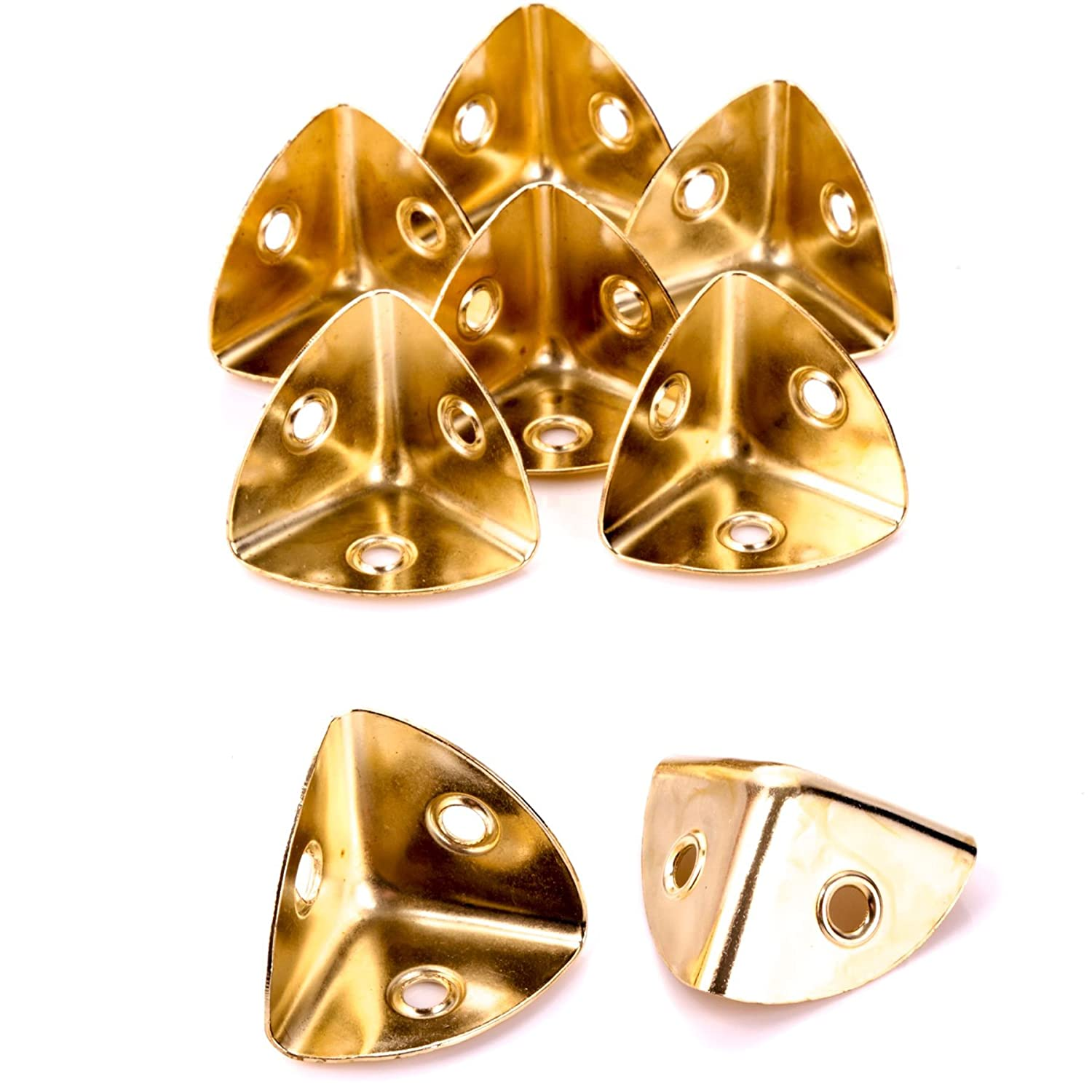 8x Brass Plated 28mm Case Corners for Strengthening/Repairing Box/Chest/Trunk White Hinge