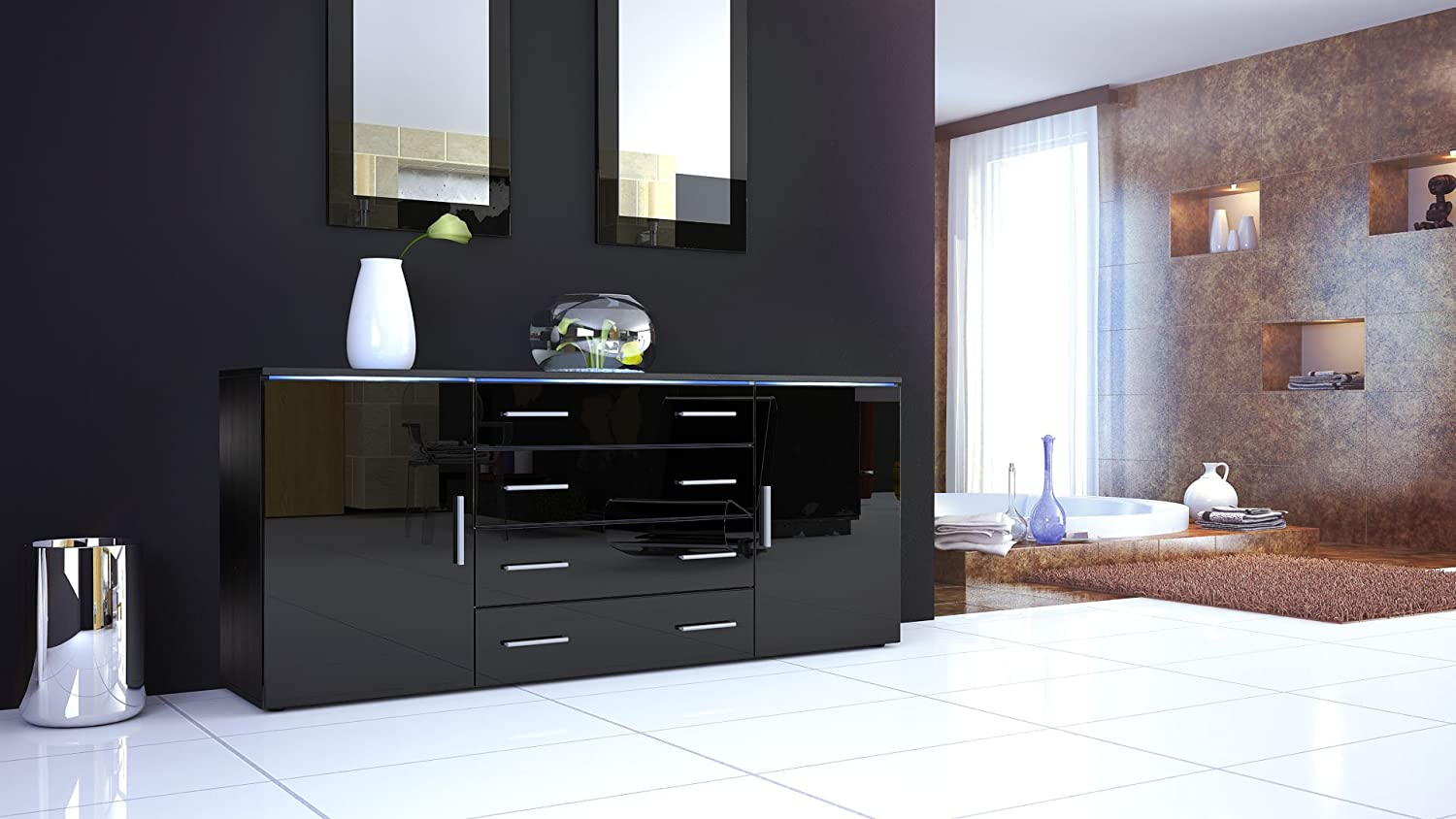 Sideboard Chest Of Drawers Faro V Carcass In Black Matt Fronts - Black gloss chest of drawers