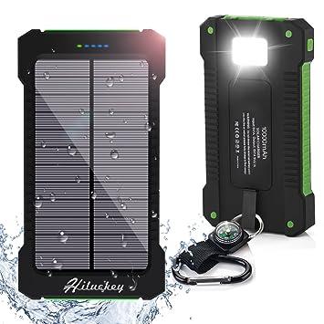 Cargador Solar 10000mAh, Hiluckey Batería Externa Solar Banco de energía Power Bank Doble Puerto USB con LED, Solar Charger Portátil Compatible ...