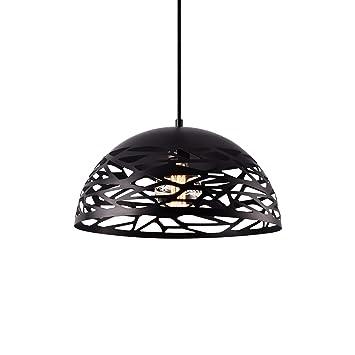 [lux.pro] Lámpara colgante de diseño negra metal (altura 145 cm, cable incluido) - lámpara de techo - look industrial