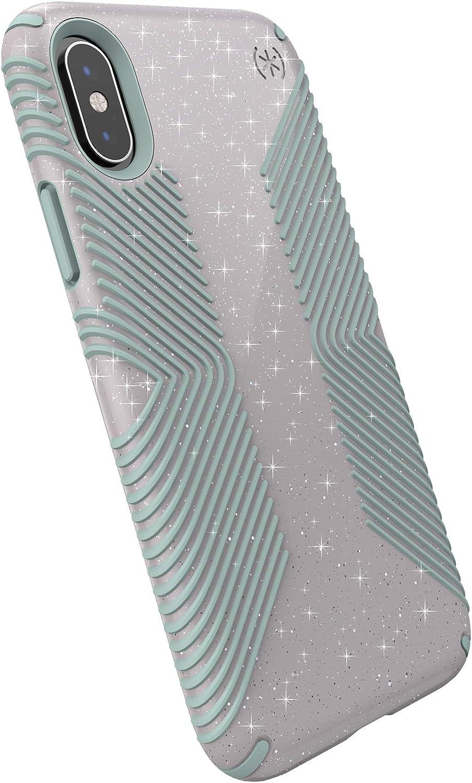 Speck Products Presidio Grip + Glitter iPhone Xs/iPhone X Case, Whitestone Grey Glitter/Blue (131550-8537)