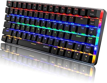 Teclado mecánico, teclado inalámbrico Bluetooth para juegos Rainbow LED retroiluminado, 82 teclas compactas anti-fantasma teclas para juego y oficina ...