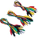 eBoot 30 Pieces Test Leads with Alligator Clips Set Insulated Test Cable Double-ended Clips, 19.7 Inch