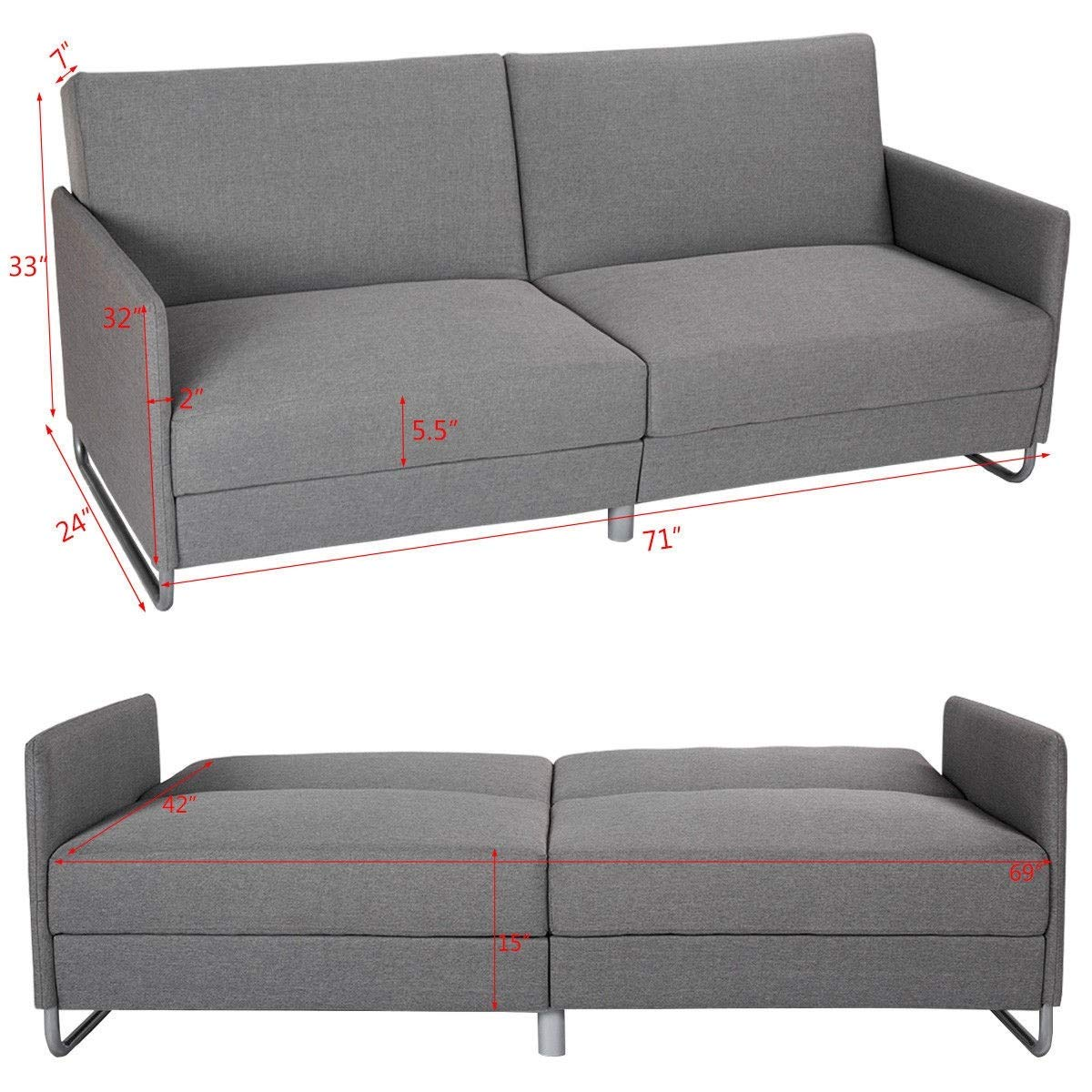 Amazon.com: Modern Futon Convertible Recliner Couch ...