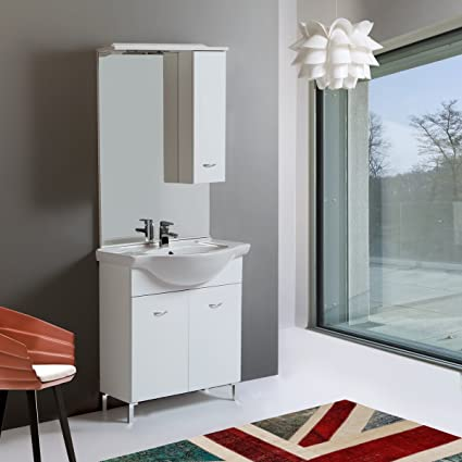 MOBILE BAGNO A TERRA 75 CM PERLA CON LAVABO: Amazon.it: Fai da te