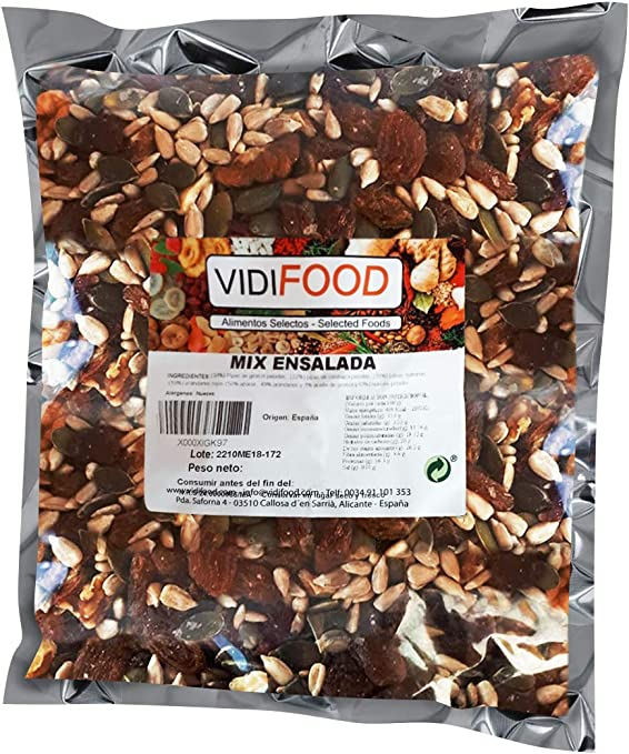 Mix de Frutas y Nueces para ensaladas - 1kg - Mezcla de Semillas de Girasol, Semillas de Calabaza, Pasas, Nueces, Albaricoques deshidratados y Arándanos secos - Mezcla Ensaladas, Aperitivos y Recetas: Amazon.es: