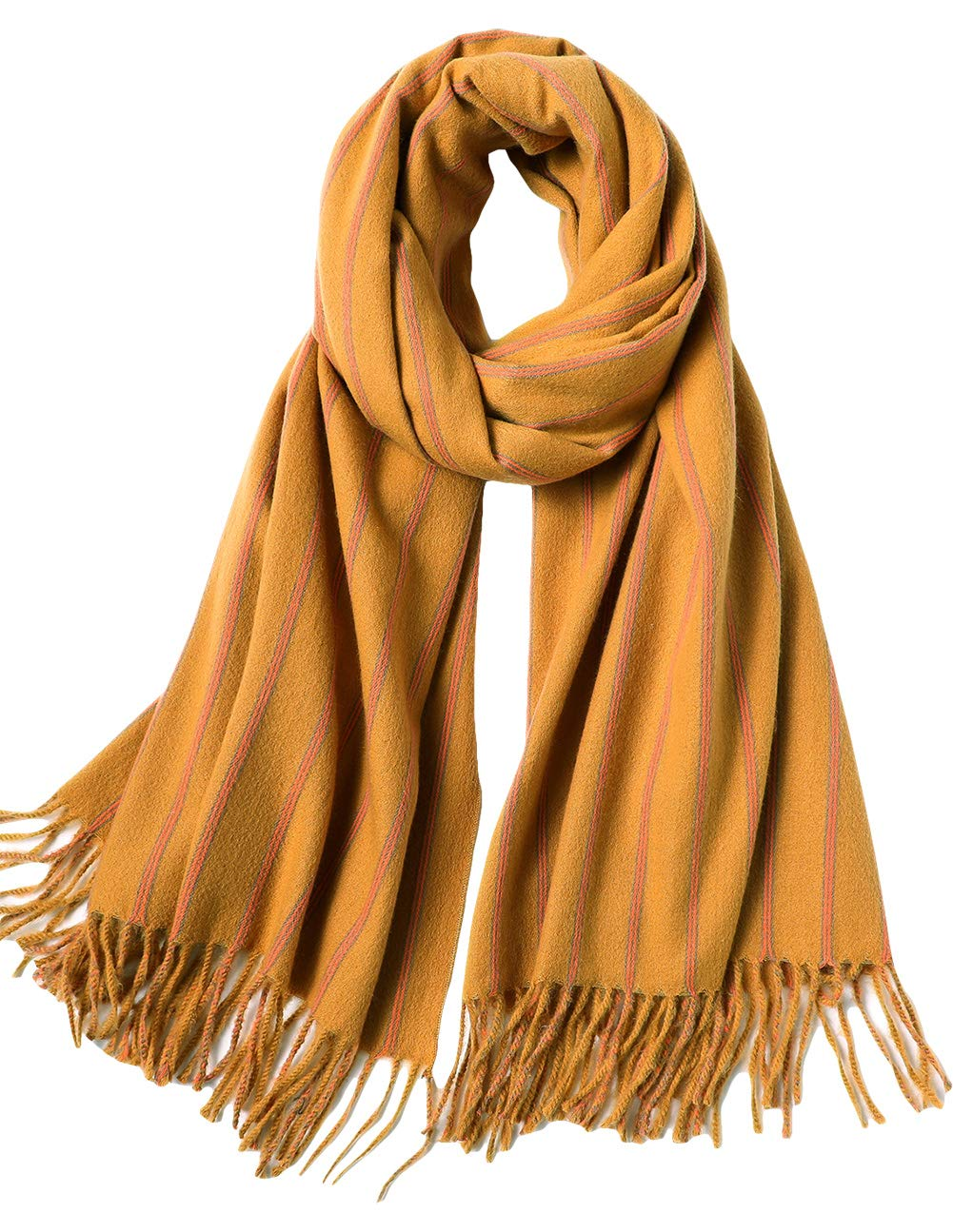 MaaMgic Striped Soft Wraps Pashminas Cashmere Scarfs for Women with, Ginger