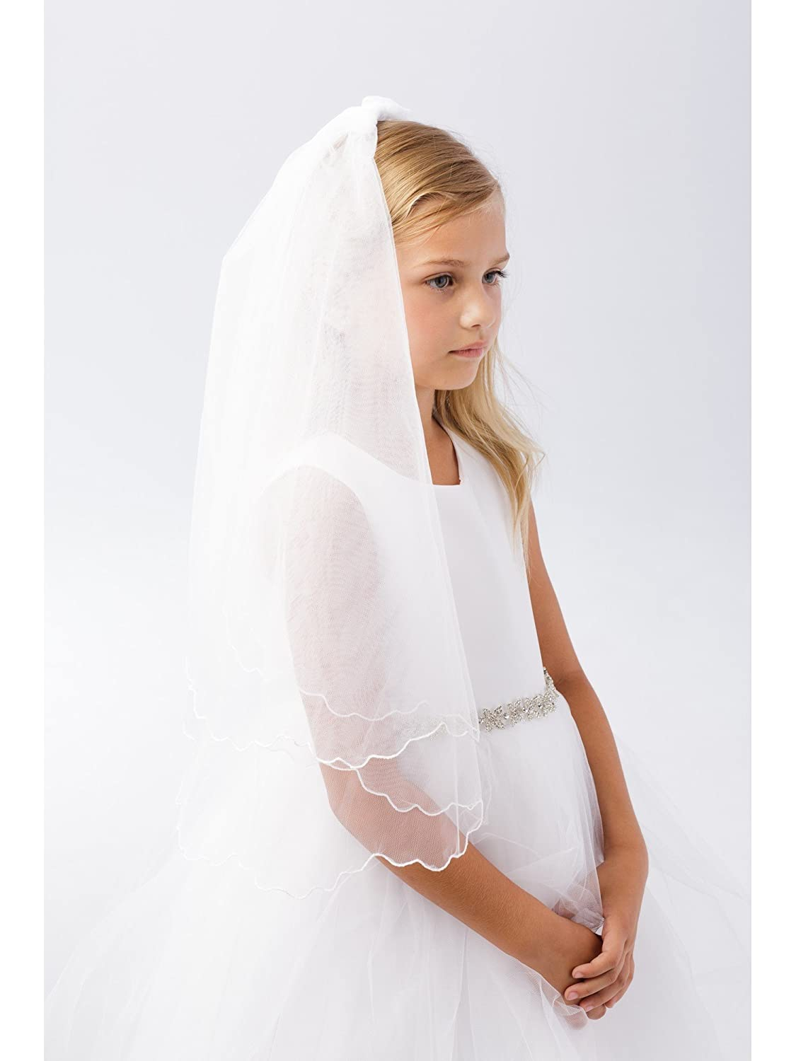 Girls White Scalloped Chord Edging Double Layer Communion Flower Girl Veil Tip Top Kids