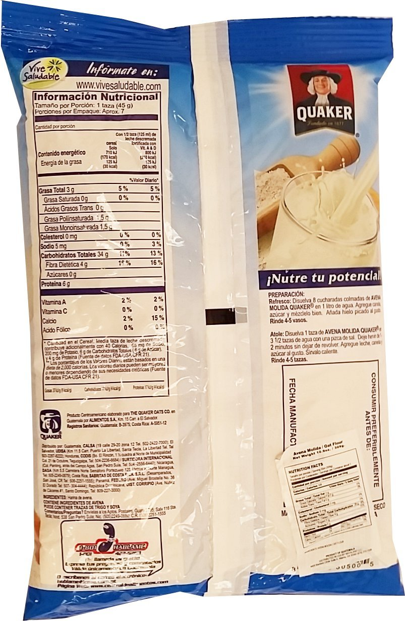 Amazon.com : Quaker Ground Oats 10.9 oz - Avena Molida (Pack of 20) : Grocery & Gourmet Food