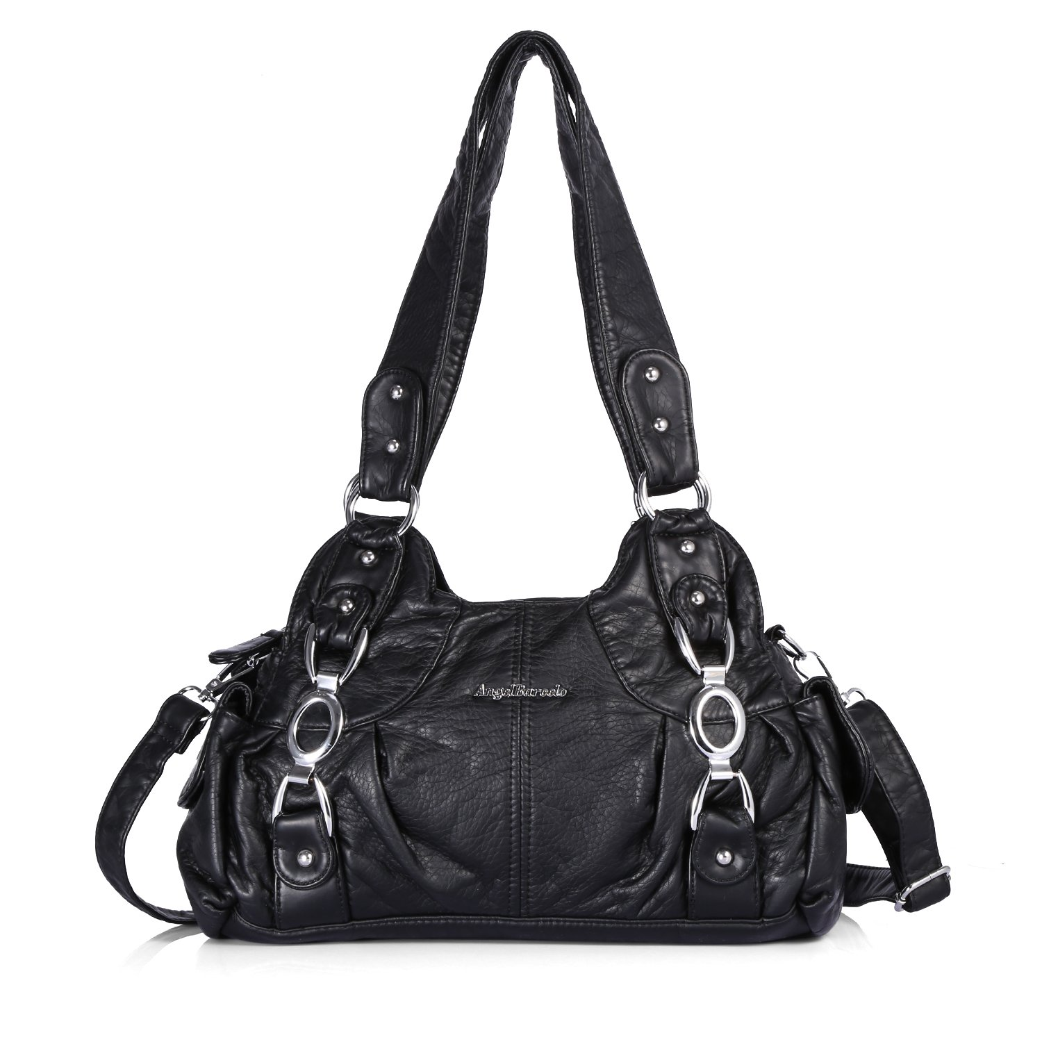Handbag Hobo Women Bag Roomy Multiple Pockets Street Ladies' Shoulder Bag Fashion PU Tote Satchel Top Handle Bag (AKW22024 1#Black)