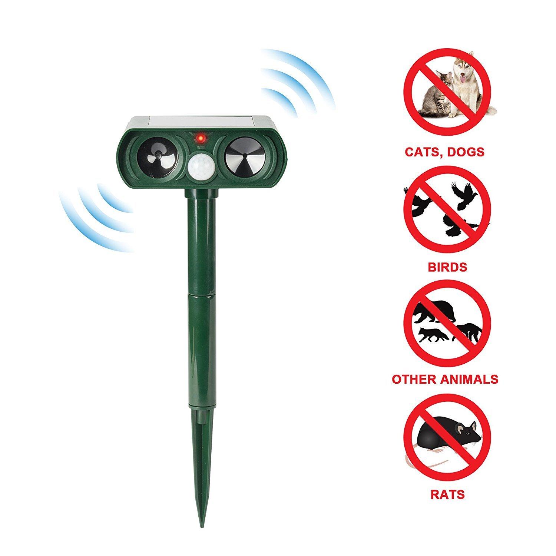 CO-Z Ultrasonic Pest Repeller w/Solar Powered Motion Sensor Cat, Dog, Bird Repellent, Waterproof