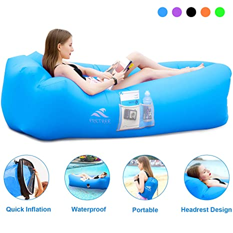 FRETREE Inflatable Lounger Air Sofa Hammock - Portable Anti-Air Leaking & Waterproof Pouch Couch and Beach Chair Camping Accessories for Parties, ...