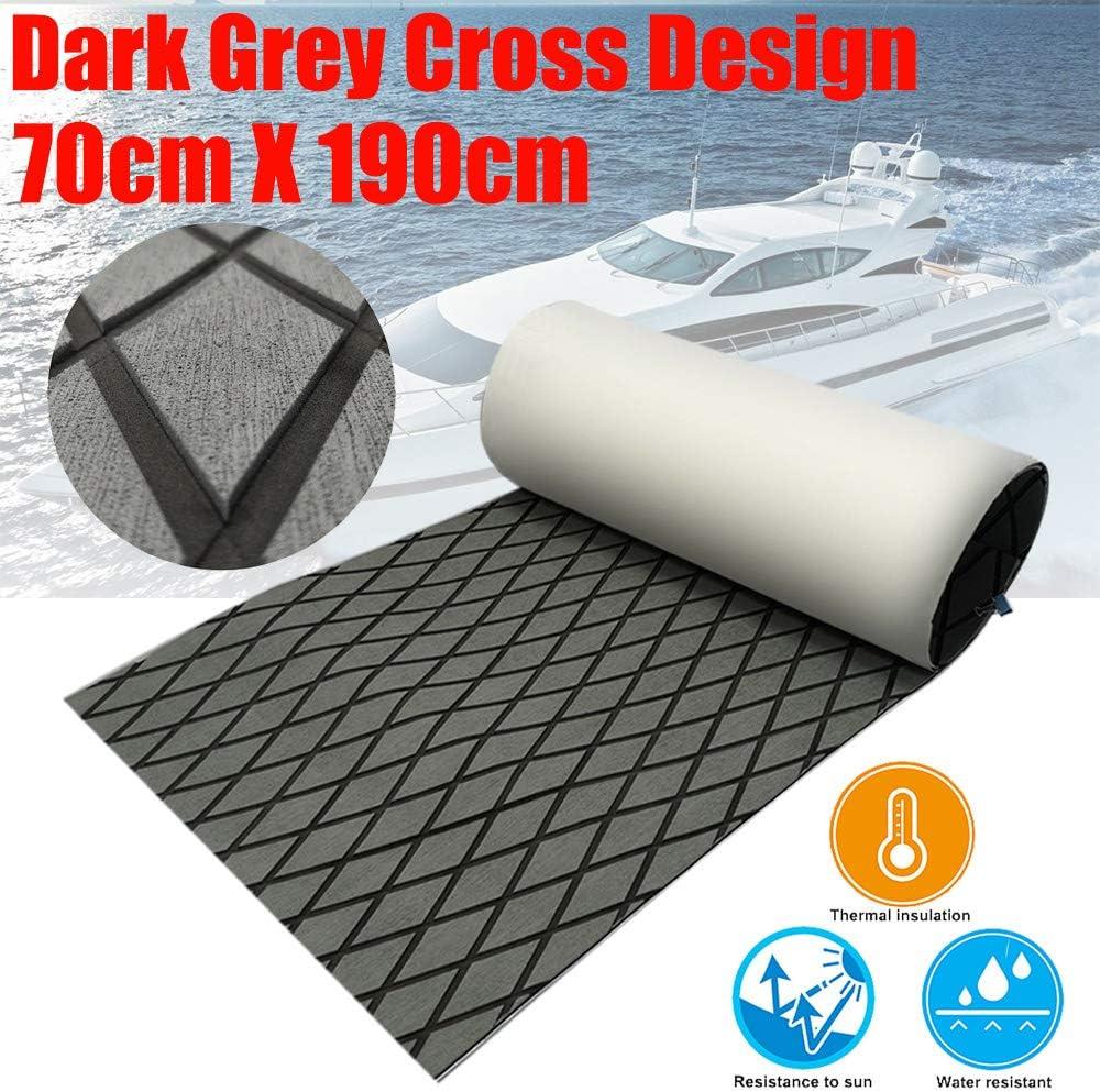 """CHURERSHINING EVA Boat Decking Sheet Marine Teak Flooring Carpet with Backing Adhesive 74.8""""×27.5"""" Cross Dark Grey"""