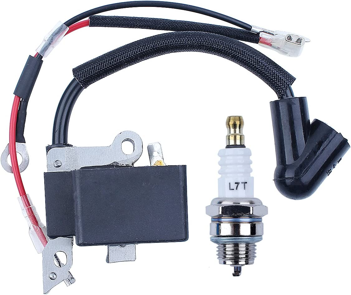Beixi Time Carburetor Ignition Coil Module Magneto Kit Compatible with Husqvarna 240 236 235 Chainsaw Parts Zama C1T-W33 Carb OEM 545199901 586936202