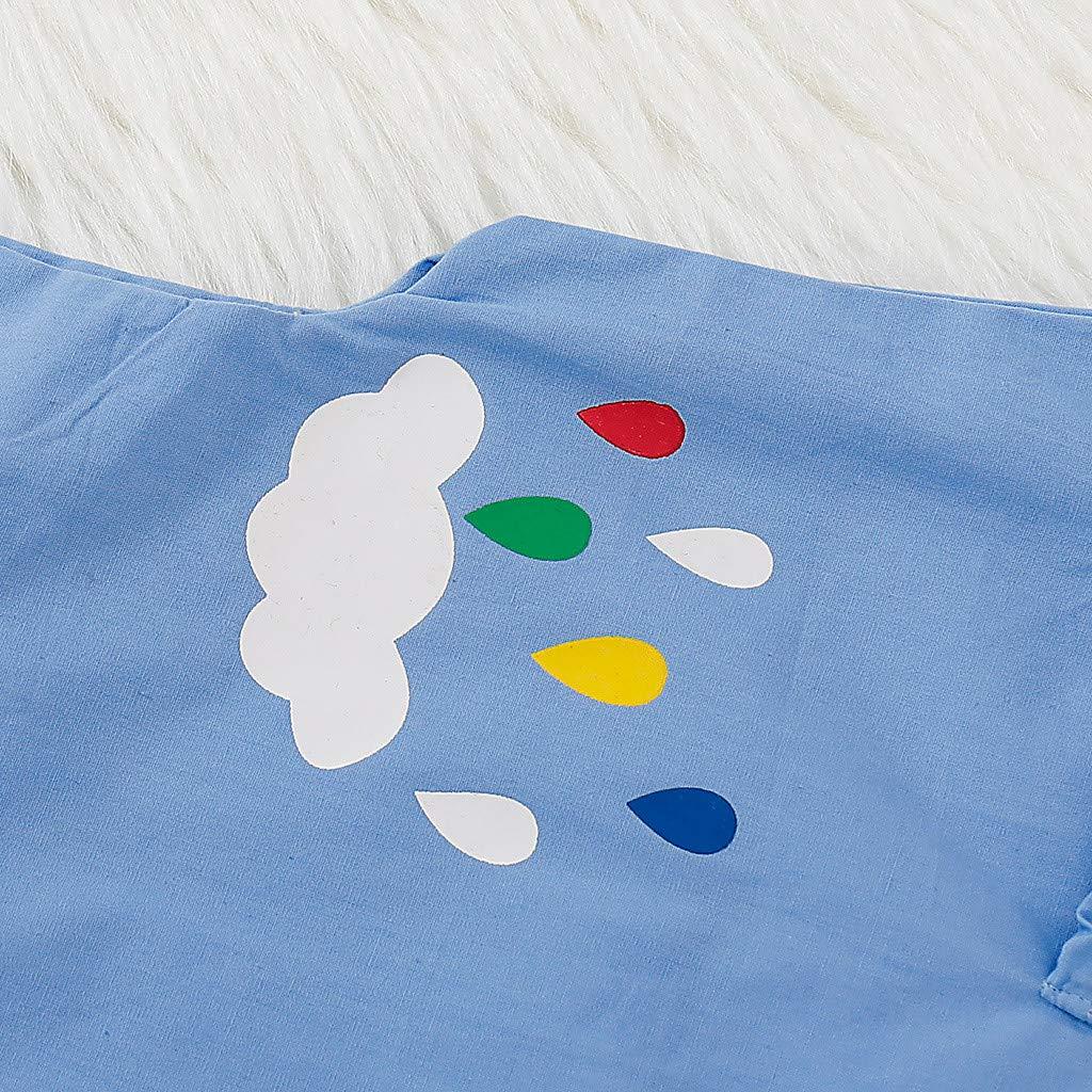 Lisin Toddler Kid Baby Girl Sleeveless Rainbow Printed Denim Princess Dress Clothes