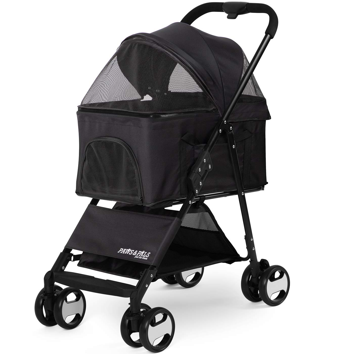 Paws & Pals Dog Stroller Easy to Walk Folding Travel Carriage for Pets & Cats with Detachable Carrier - Black by Paws & Pals