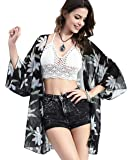 Upopby Women's Floral Printed Chiffon Swimsuits Cover Up Beach Bikini Kimono Cardigan