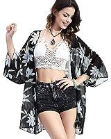 Upopby Women's Floral Printed Chiffon Swimsuits Cover Up Beach Bikini Kimono Cardigan
