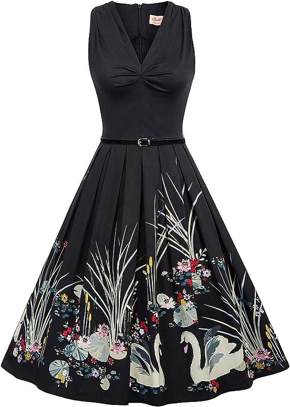 1950s Dresses, 50s Dresses | 1950s Style Dresses Belle Poque Sleeveless Vintage Dress with Belt 1950s Dresses for Women $29.99 AT vintagedancer.com