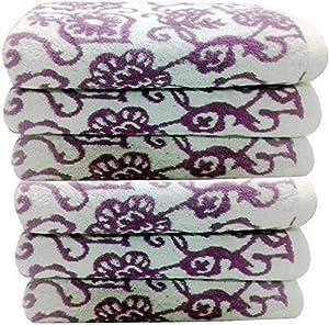 Livingston Home Luxurious 6-Piece Blush Botanical Bath Towel Set, Large