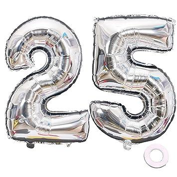 Juland Plata número 25 Globos Globos Grandes de Mylar de la Hoja Número de Globos Gigantes Gigantes de 40 Pulgadas para Decoraciones de Fiesta de ...